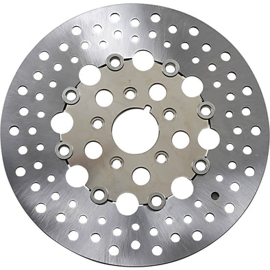 Floating Drilled Stainless Steel Brake Rotor - 11.5 inch - Replaces Harley-Davidson OEM# 44136-84A, 44136-92