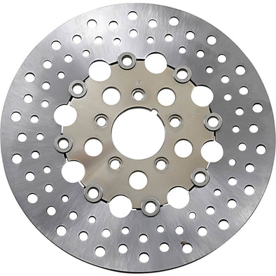 Floating Drilled Stainless Steel Brake Rotor - 11.5 inch - Replaces Harley-Davidson OEM# 44136-00, 44156-00