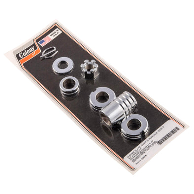 #2025-5 Rear Axle Nut Spacer Kit Chrome Grooved Harley Softail 2000-07