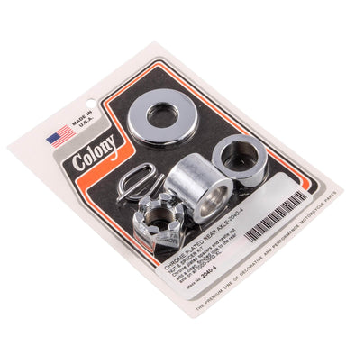 #2040-4 Rear Axle Nut Spacer Kit Chrome Smooth Harley XL 2000-03