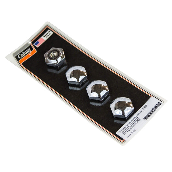 #7110-8 Chrome Plated H-D Knuckle Nut Set with O-ring Seal fits all Knucklehead Engines