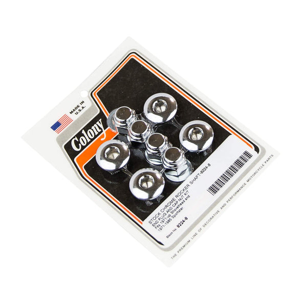 #8224-8 Rocker Shaft End Plug & Cap Kit Chrome Stock Harley Shovelhead 71-up XL 71-85