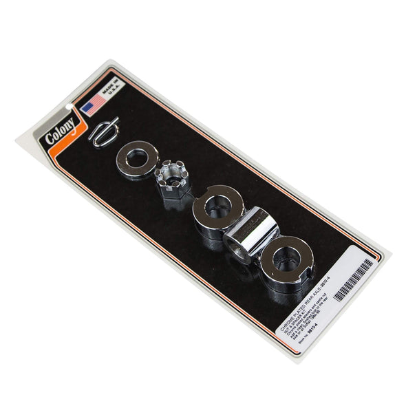 #9810-4 Smooth Rear Axle Nut & Spacer Kit Chrome Harley Softail 1984-99