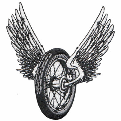 Winged Motorcycle Wheel Patch