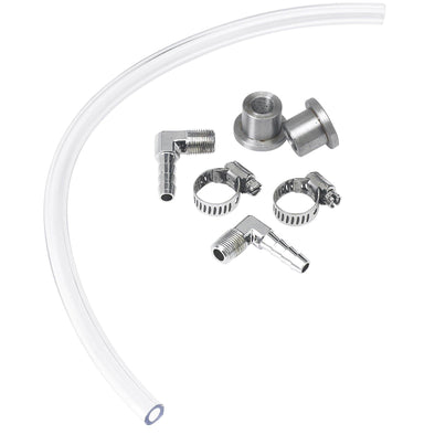 DIY Gas Tank Fuel Sight Gauge Kit - Clear - Chrome Fittings
