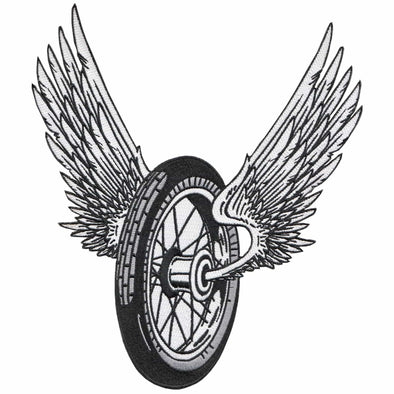 Winged Motorcycle Wheel Patch - Large Back Patch