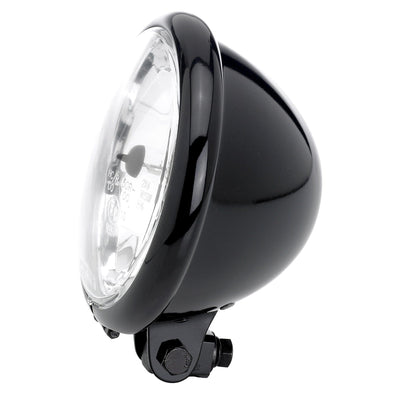 5-3/4 inch diameter Diamond Black Halogen Headlight - Clear Lens