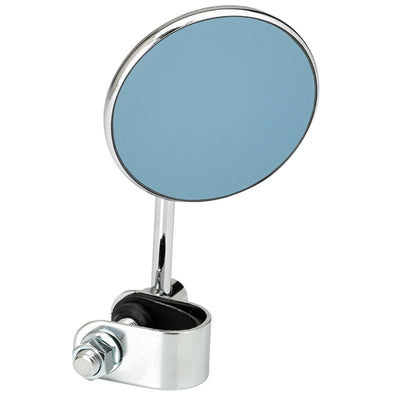 Round Motorcycle Mirror - Clamp On - Chrome with Retro Blue Glass