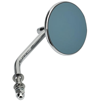 Round Motorcycle Mirror - Perch Mount - Chrome with Retro Blue Glass