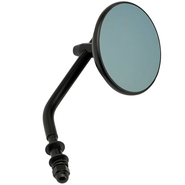 Round Motorcycle Mirror - Perch Mount - Black with Retro Blue Glass