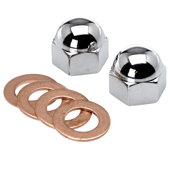 Triumph Oil Feed Chrome Rocker Box Acorn Nuts and Copper Washers #70-1435 70-1335