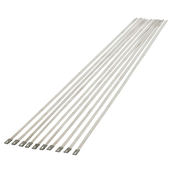 12 inch Stainless Steel Exhaust Zip Ties - 10 Pack - For Exhaust Header Wrap