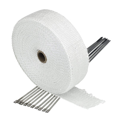 White Exhaust Wrap Header Tape - 2 inch x 50 foot - with 10 Stainless Zip Ties
