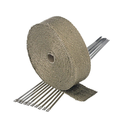 Titanium Exhaust Wrap Header Tape - 2 inch x 50 foot - with 10 Stainless Zip Ties