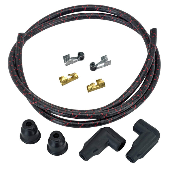 8mm Suppression Core Cloth Spark Plug Wire Sets - Black with Red tracers