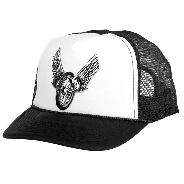 Trucker Hat with Embroidered Winged Wheel Patch