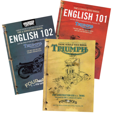 English 101, English 102 & Triumph 650 Rebuild DVD - 3 DVD Set - Save $25!