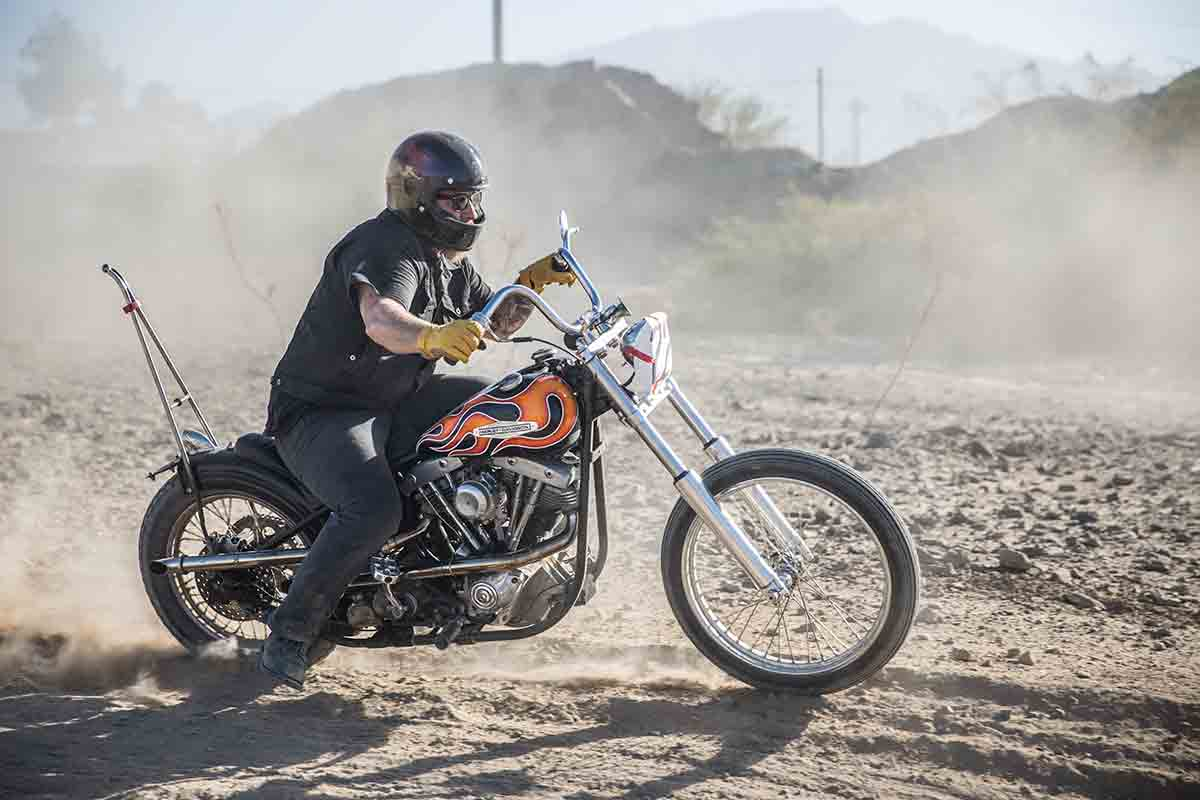 """Bill Bryant, Co-Founder of Biltwell Inc. racing in the """"Circle of Death"""" on the EDR."""