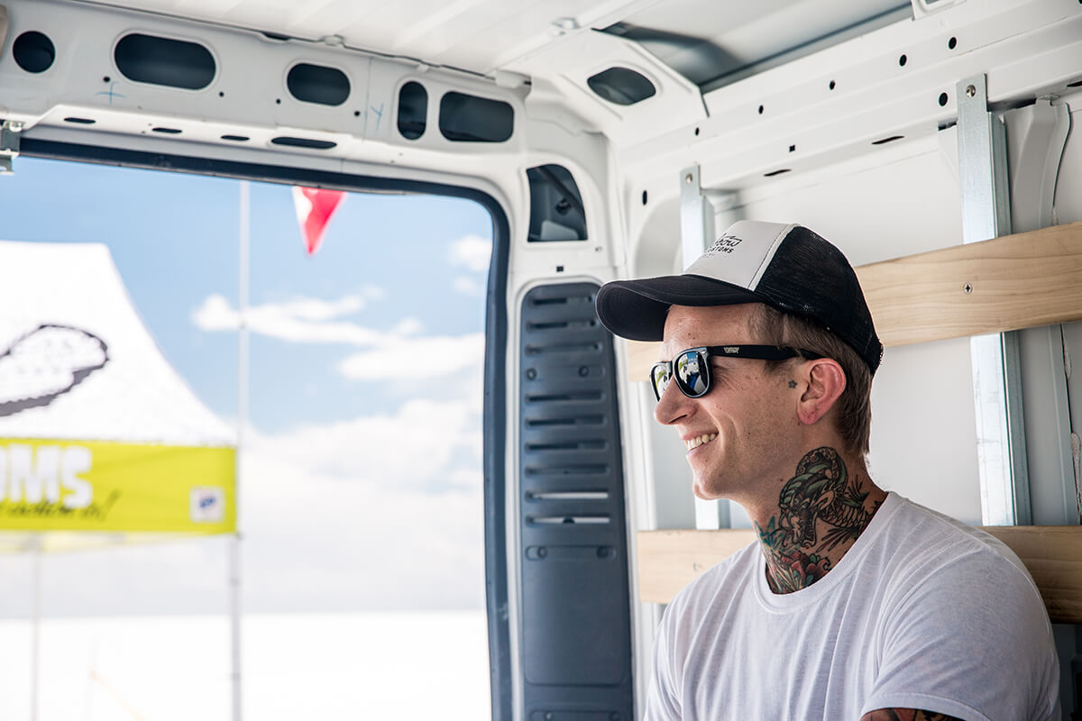 "The man of the week, Tyler eventually showed up after everything was setup. ""Fashionably late"" is what we like to say. - Bonneville Speed Week 2017 - Lowbrow Customs"