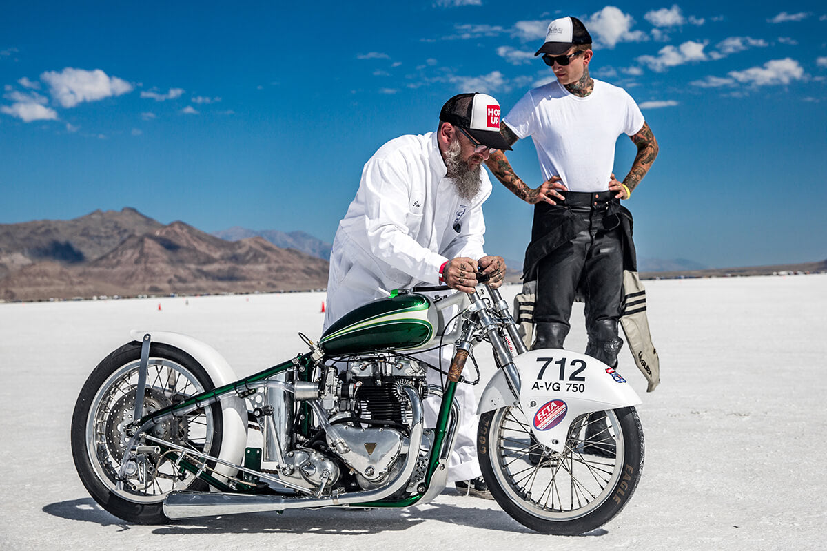Joe pushing Poison Ivy closer to the starting line for her first run of 2017. - Bonneville Speed Week 2017 - Lowbrow Customs