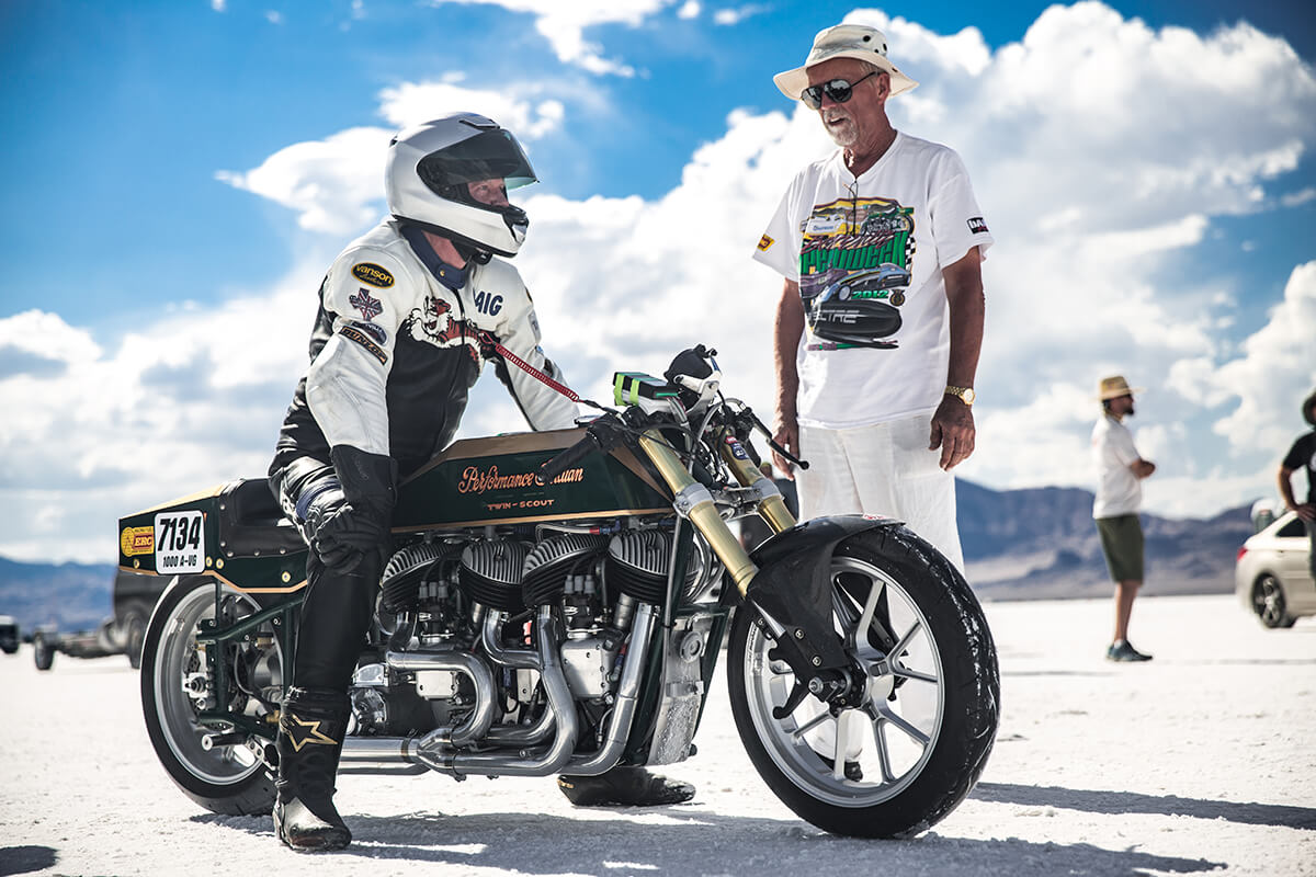 Jim Mosher built and tunes this insane Dual Indian and Craig is the lucky one that gets to race her down the salt. - Bonneville Speed Week 2017 - Lowbrow Customs