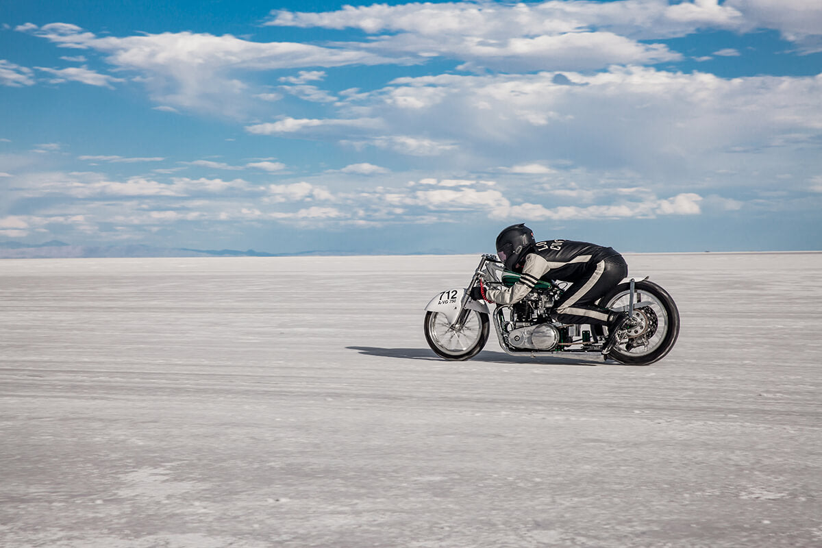 Tyler taking off on his very first run at Bonneville Speed Week 2017. -  Bonneville Speed Week 2017 - Lowbrow Customs