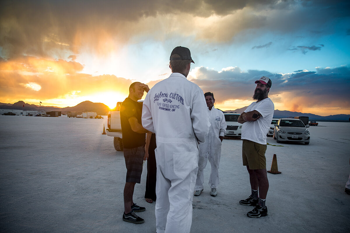 Andy Cox, AZ Nick and Shawn Long made it out in the late afternoon. We all celebrated our first day out on the salt with booze and watched the beautiful sunset. - Bonneville Speed Week 2017 - Lowbrow Customs