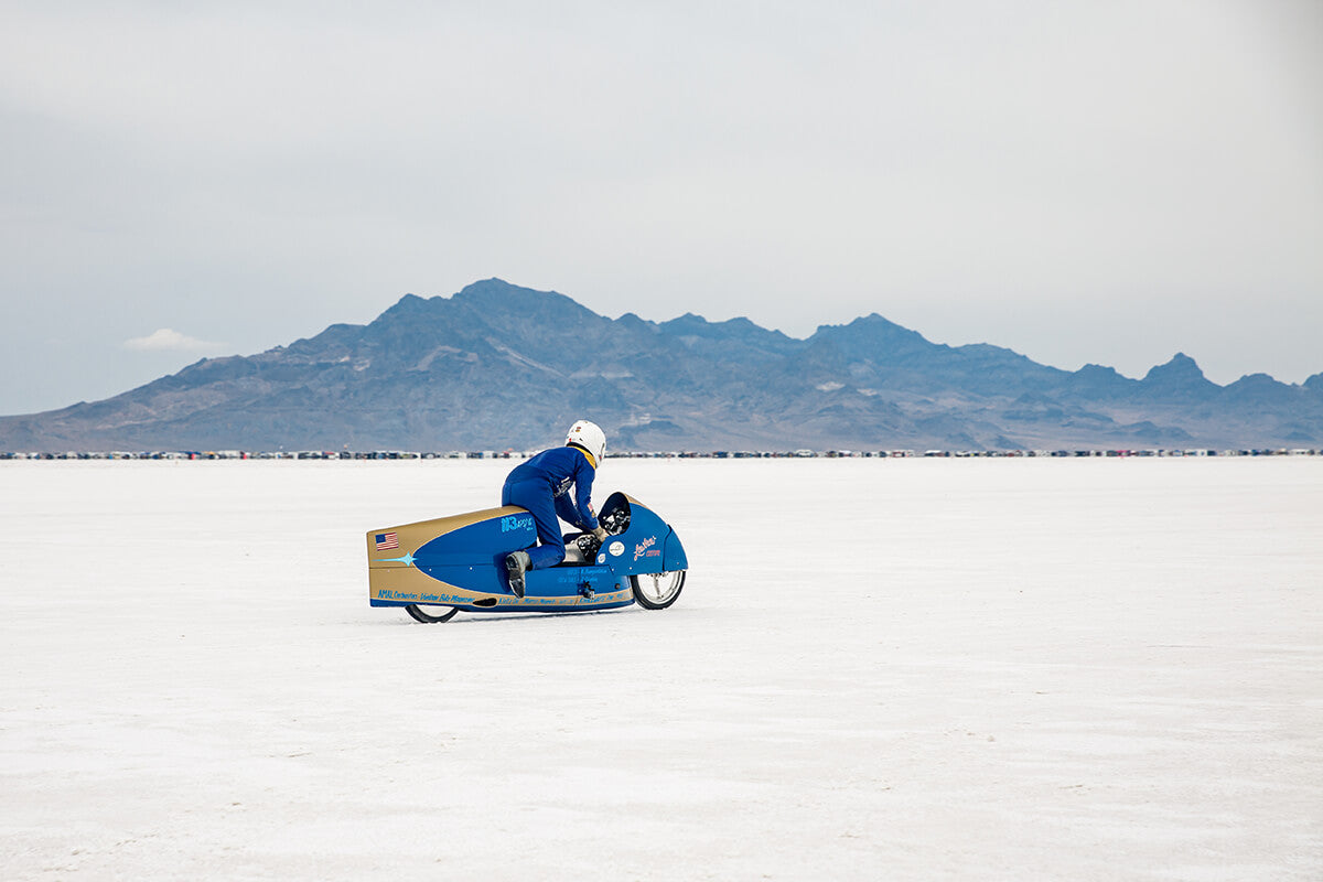 This was the closest I got to seeing alp in his full riding position, I need a 500 mm lens for next year! - Bonneville Speed Week 2017 - Lowbrow Customs