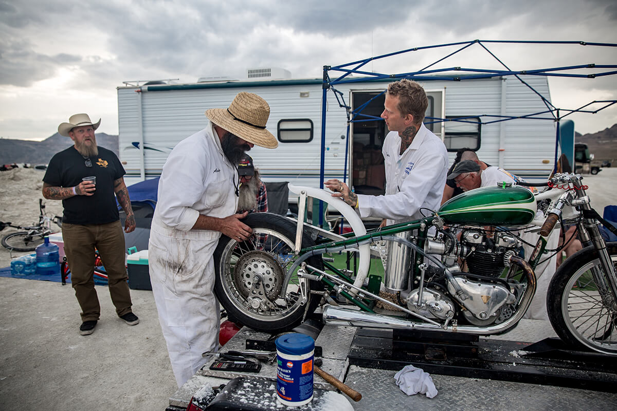 Trying a few different sprockets to change up your gearing is easy when you have Andy Cox on your team. - Bonneville Speed Week 2017 - Lowbrow Customs