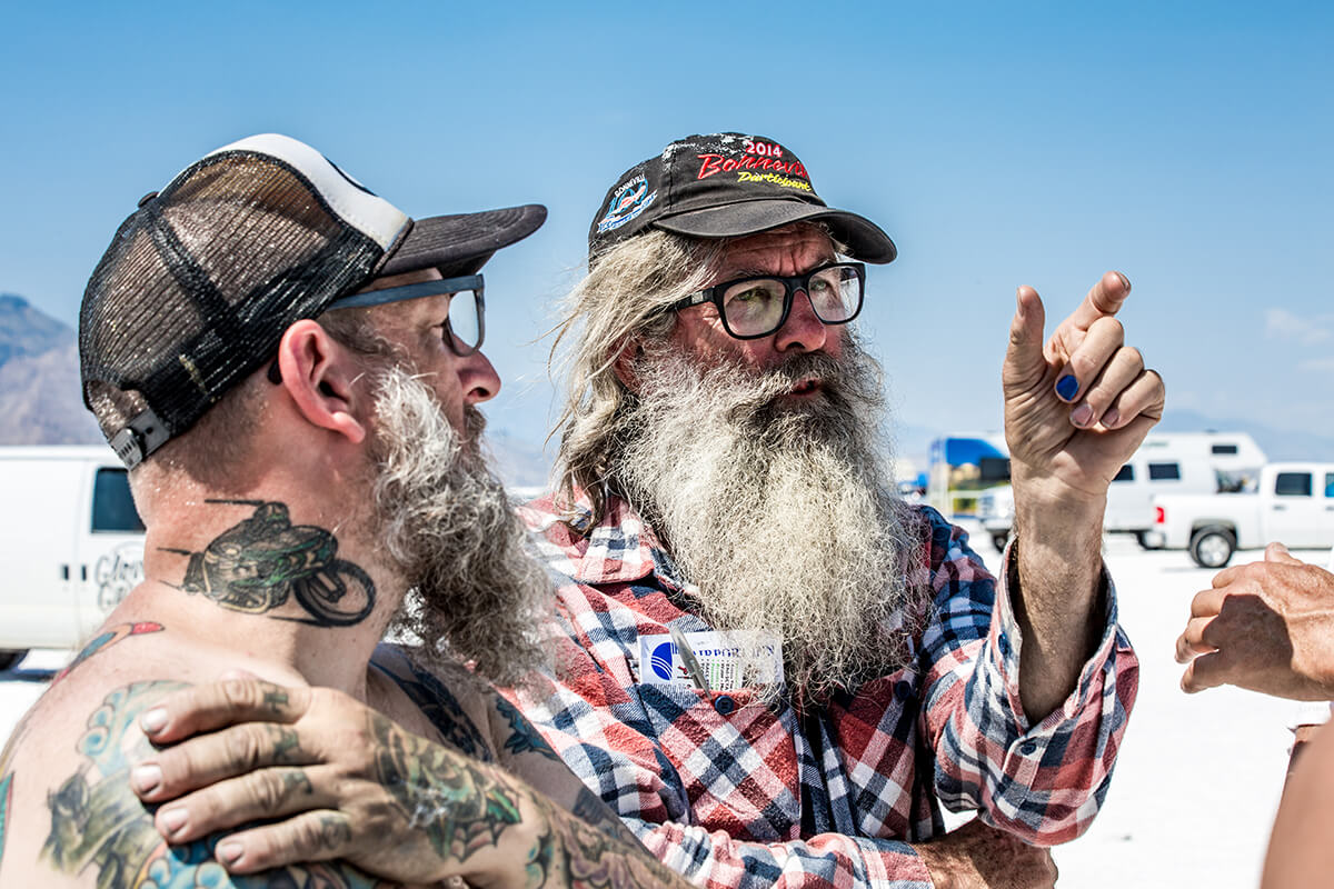 Phill either sharing his theory on wiring or what he says to women, you be the judge. - Bonneville Speed Week 2017 - Lowbrow Customs
