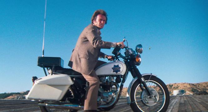 Clint Eastwood on a crazy Triumph police bike in Dirty Harry. Famous motorcycle riders