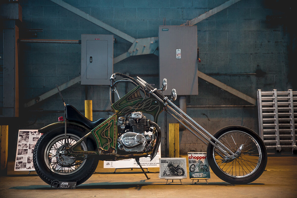 This AEE Honda Chopper was on the cover of 1970 Street Chopper Magazine. This Survivor was found and is owned by John Kelly. Fuel Cleveland 2017 - Lowbrow Customs, The Gasbox, Forever The Chaos Life