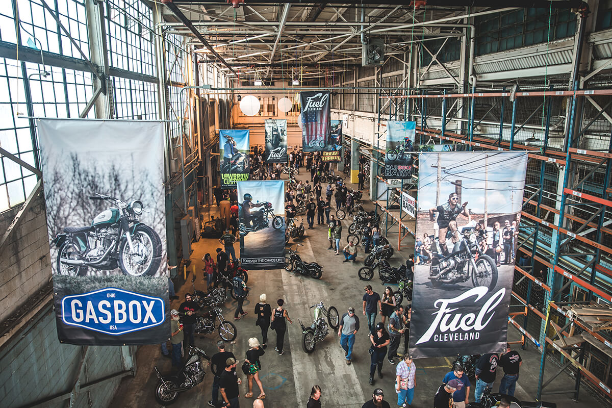 """The Hamilton Collaborative building has some of the most beautiful views and made for a perfect setting for Fuel Cleveland. The overall response from people who came in was the word, """"Incredible"""".  Fuel Cleveland 2017 - Lowbrow Customs, The Gasbox, Forever The Chaos Life"""