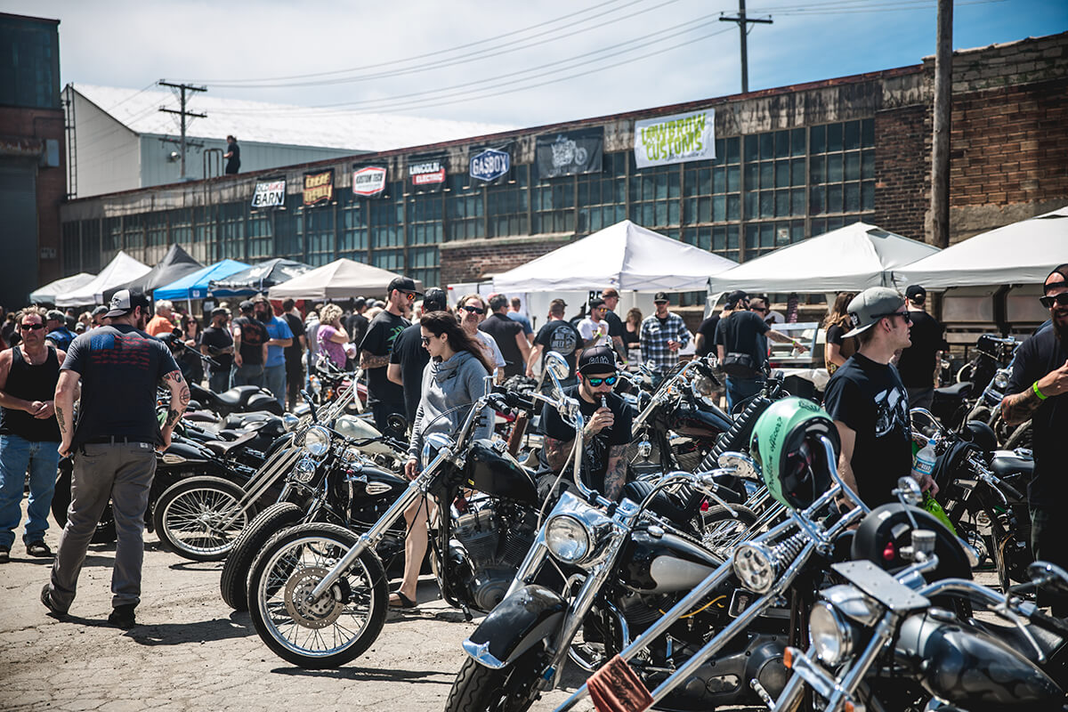 A sea of motorcycles from all over the country. Fuel Cleveland 2017 - Lowbrow Customs, The Gasbox, Forever The Chaos Life