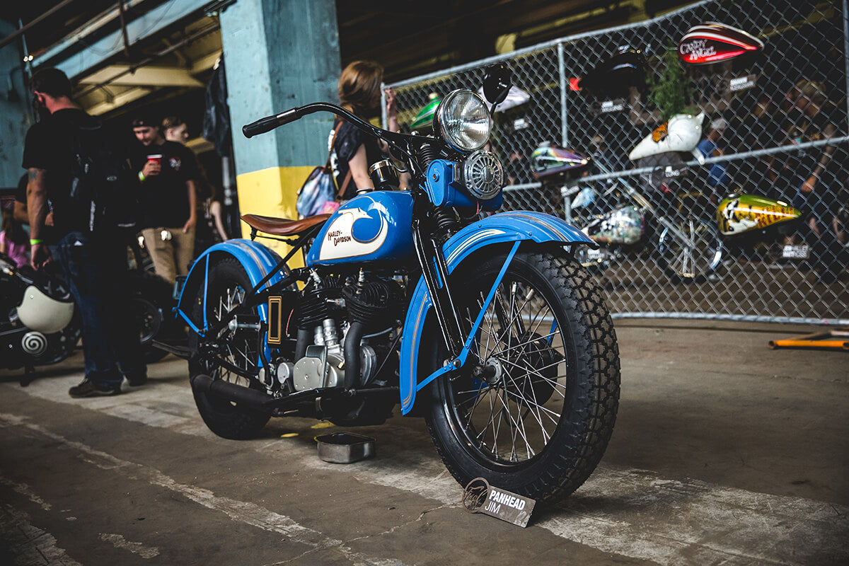 Panhead Jim came out with this freshly rebuilt Harley-Davidson VL after it engulfed into flames 3 weeks prior to the show. The dude knows how to build a motorcycle with the quickness. Fuel Cleveland 2017 - Lowbrow Customs, The Gasbox, Forever The Chaos Life