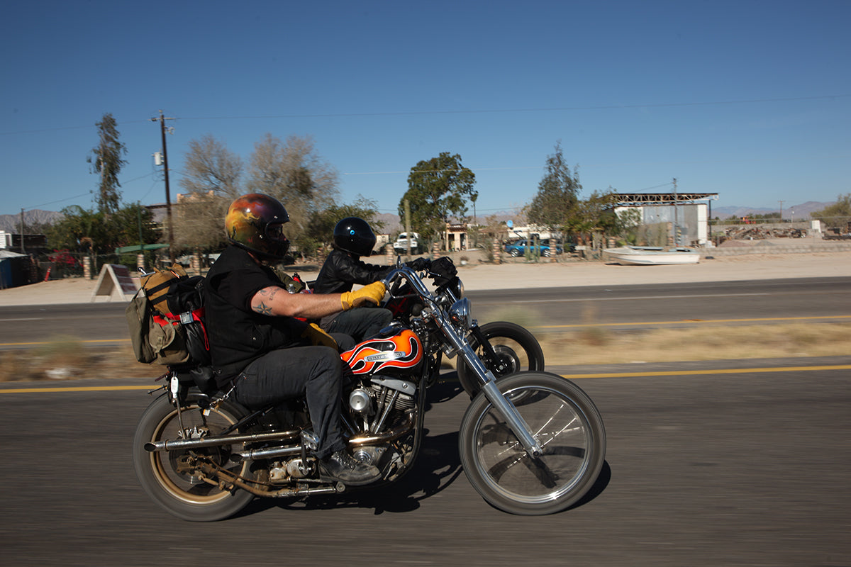Flynn and Bill riding together on EDR. - Get to know Biltwell inc.