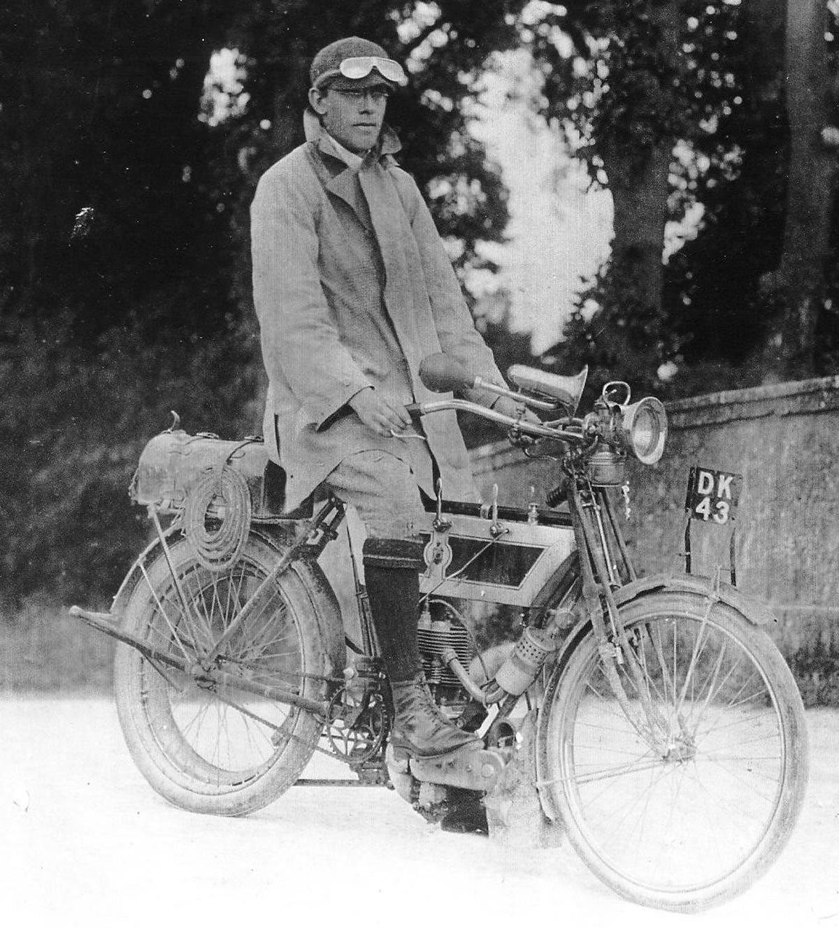 Triumph reached out to Rev Basil H. Davies a.k.a. Ixion a famous writer (pictured above) to test their very first motor made in 1905.