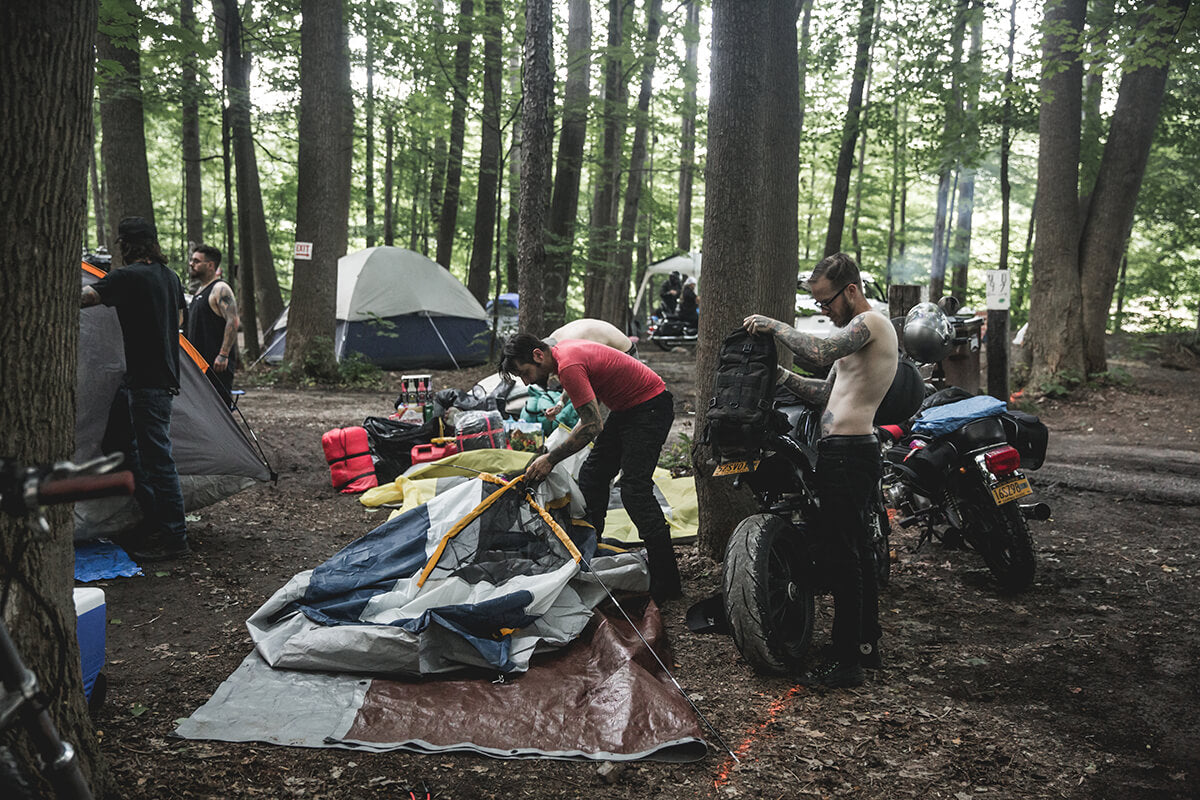 The Buffalo crew setting up camp and representing hard. There was around 20 plus bikes in their group that came in. Lowbrow Getdown 2017 - Lowbrow Customs