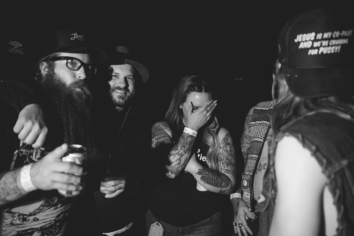 Someone stole my camera and snagged this shot of me with my good friend Kyle, Meeka, Dan, and Little Steve Saturday night. Lowbrow Getdown 2017 - Lowbrow Customs