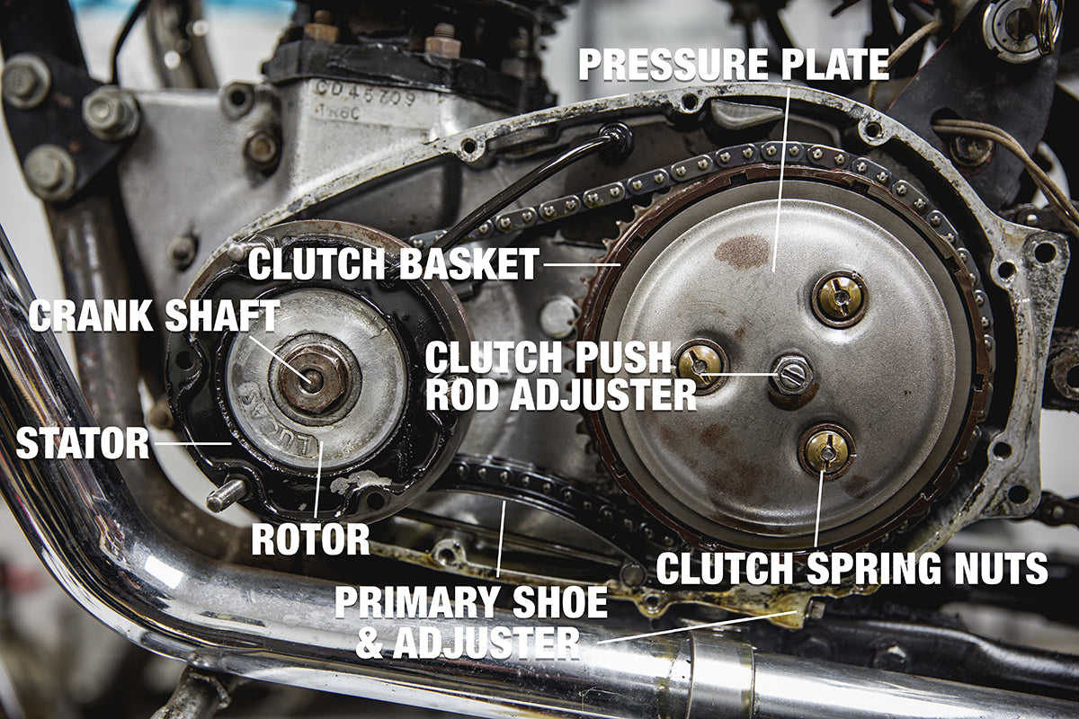 Notable things to look at right away when removing the primary cover.   Triumph 650 clutch inspection and service-Triumph 650 Clutch Inspection and Service-4