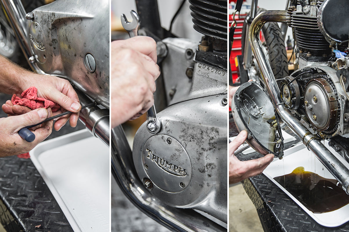 There are 3 types of bolts to remove, you will need 3/16 and 1/4 inch allen along with a 1/4 whitworth wrench. Triumph 650 clutch inspection and service-Triumph 650 Clutch Inspection and Service-2