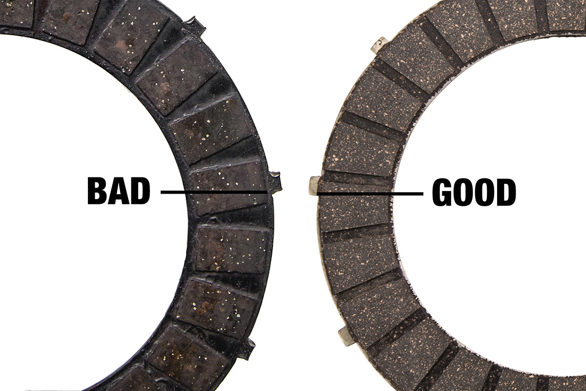 If the tangs look hammered on either end, you should replace with new clutch plates. Triumph 650 clutch inspection and service-Triumph 650 Clutch Inspection and Service-9