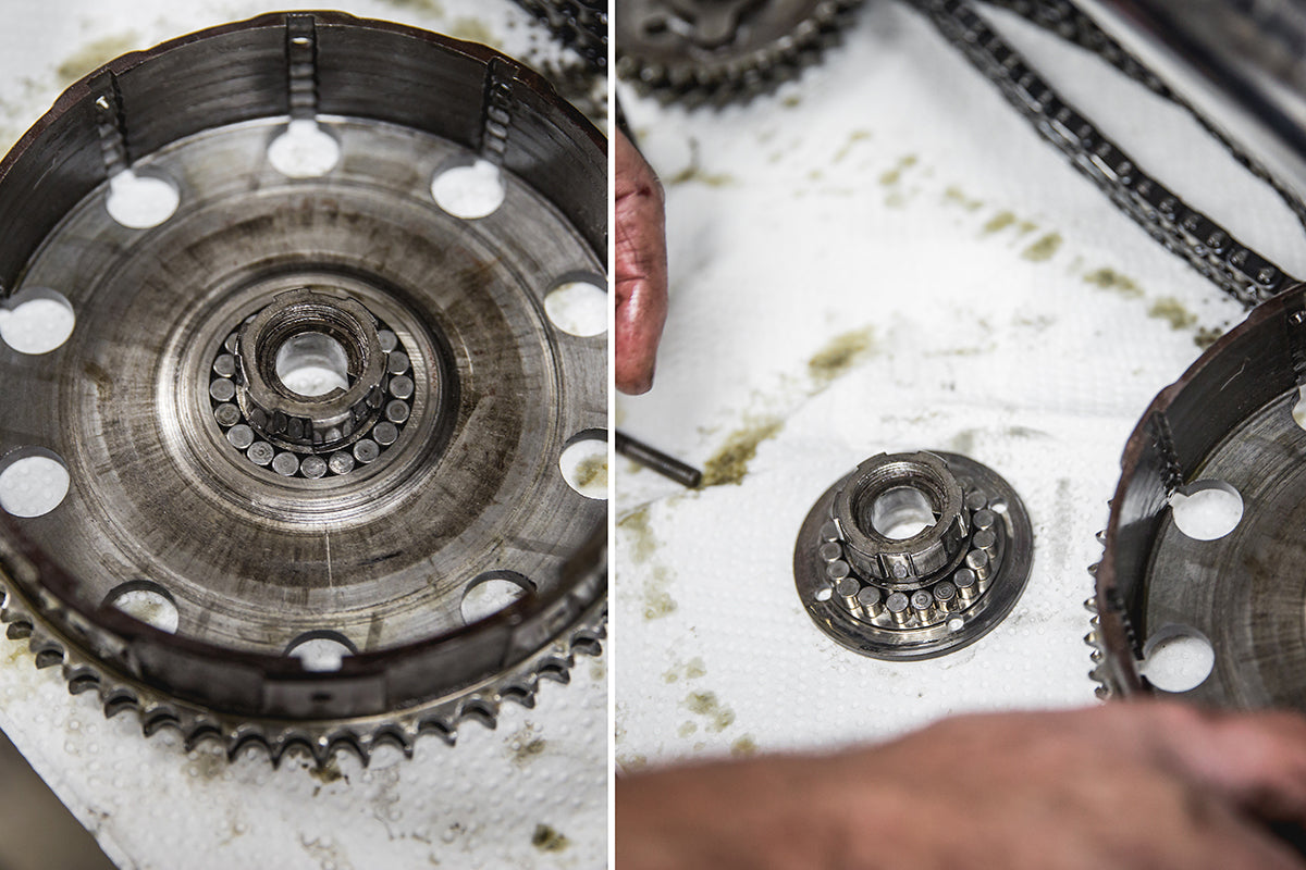 Here is the roller location, when putting back together be sure to grease thoroughly. Triumph 650 clutch inspection and service-Triumph 650 Clutch Inspection and Service-16