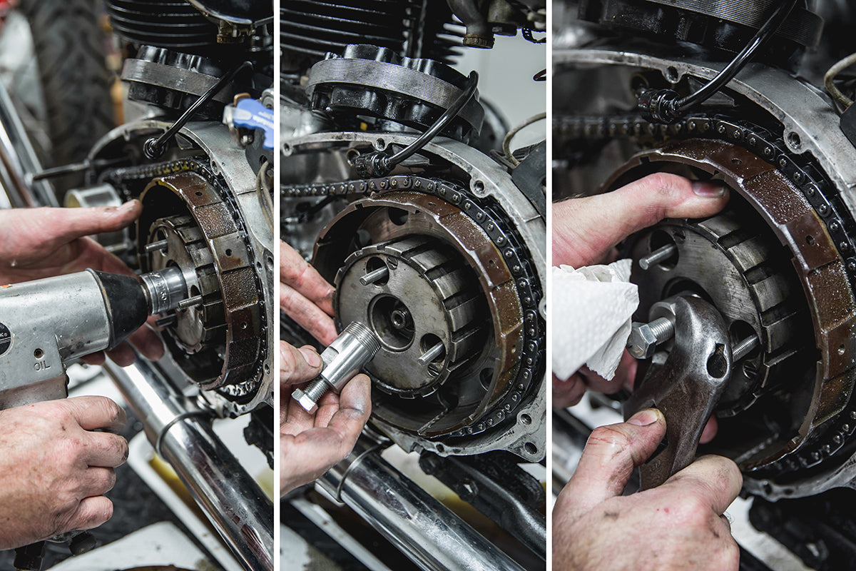 Using our special clutch basket puller makes removal easy. Triumph 650 clutch inspection and service-Triumph 650 Clutch Inspection and Service-13
