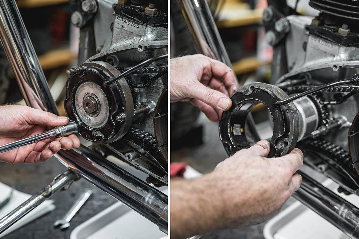 Using a 1/2 inch socket remove the three bolts holding the stator. Slide the stator off of the rotor and set above the primary casing out of the way. Triumph 650 clutch inspection and service-Triumph 650 Clutch Inspection and Service-11
