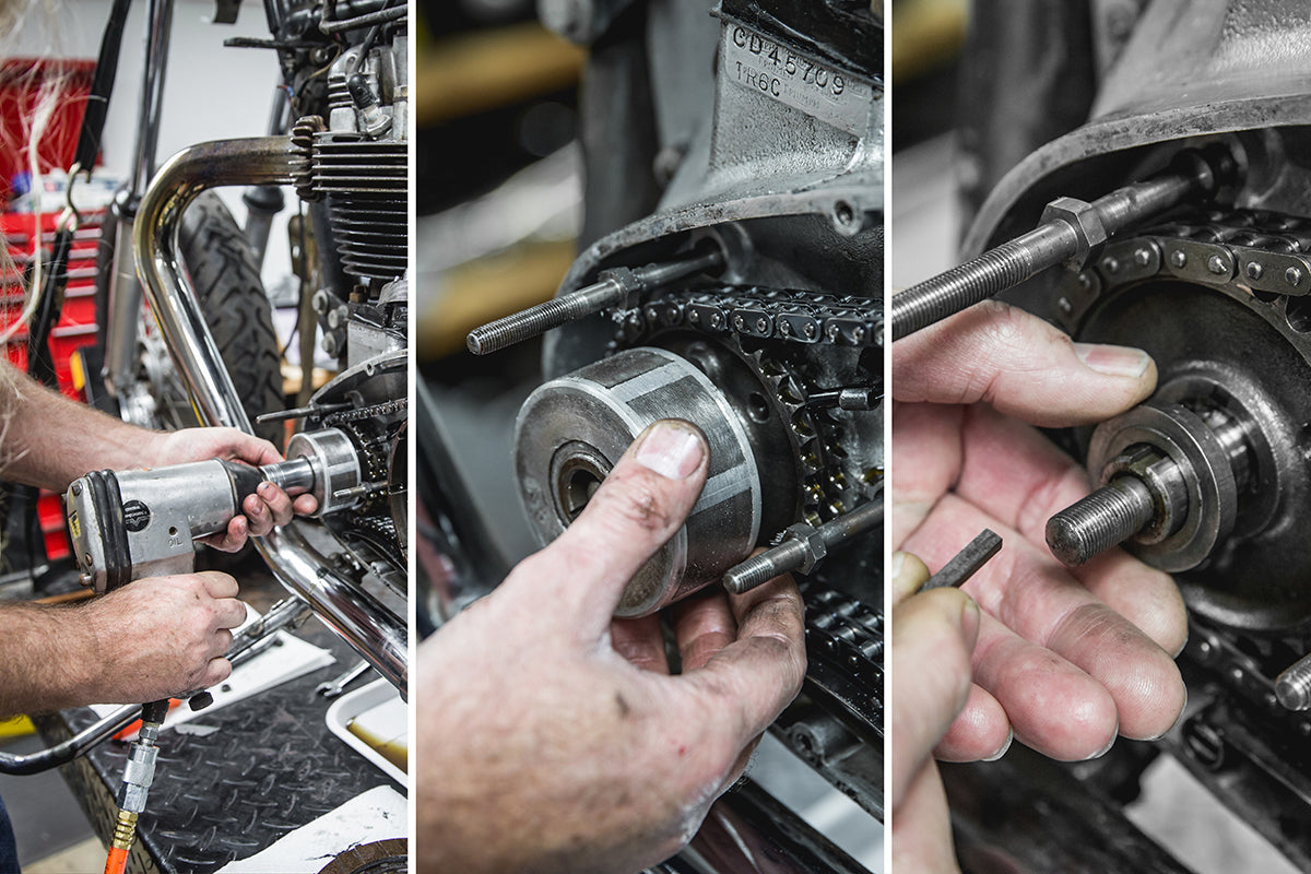 It helps to use a impact to remove the rotor nut from the crank shaft. Slide of the rotor and remove the key and spacer. Triumph 650 clutch inspection and service-Triumph 650 Clutch Inspection and Service-12