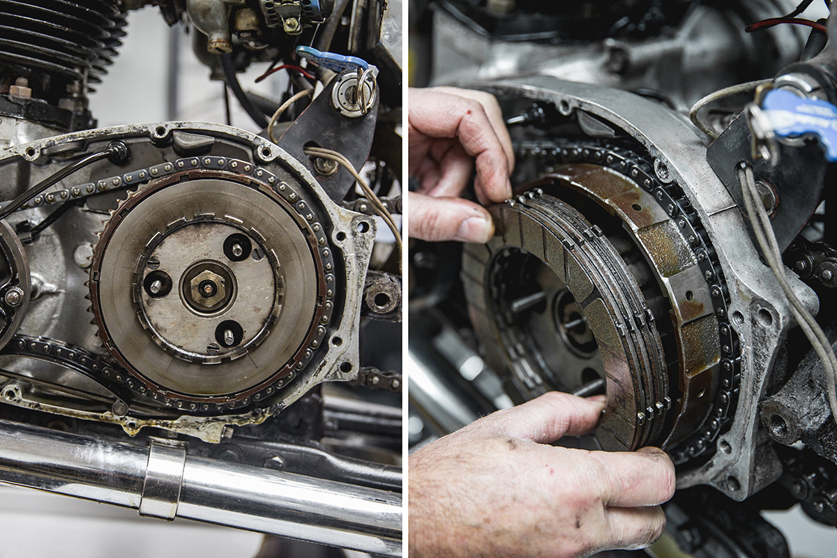 Todd's suspicions were correct, 8 or more plates were stuck together.  Triumph 650 clutch inspection and service-Triumph 650 Clutch Inspection and Service-8