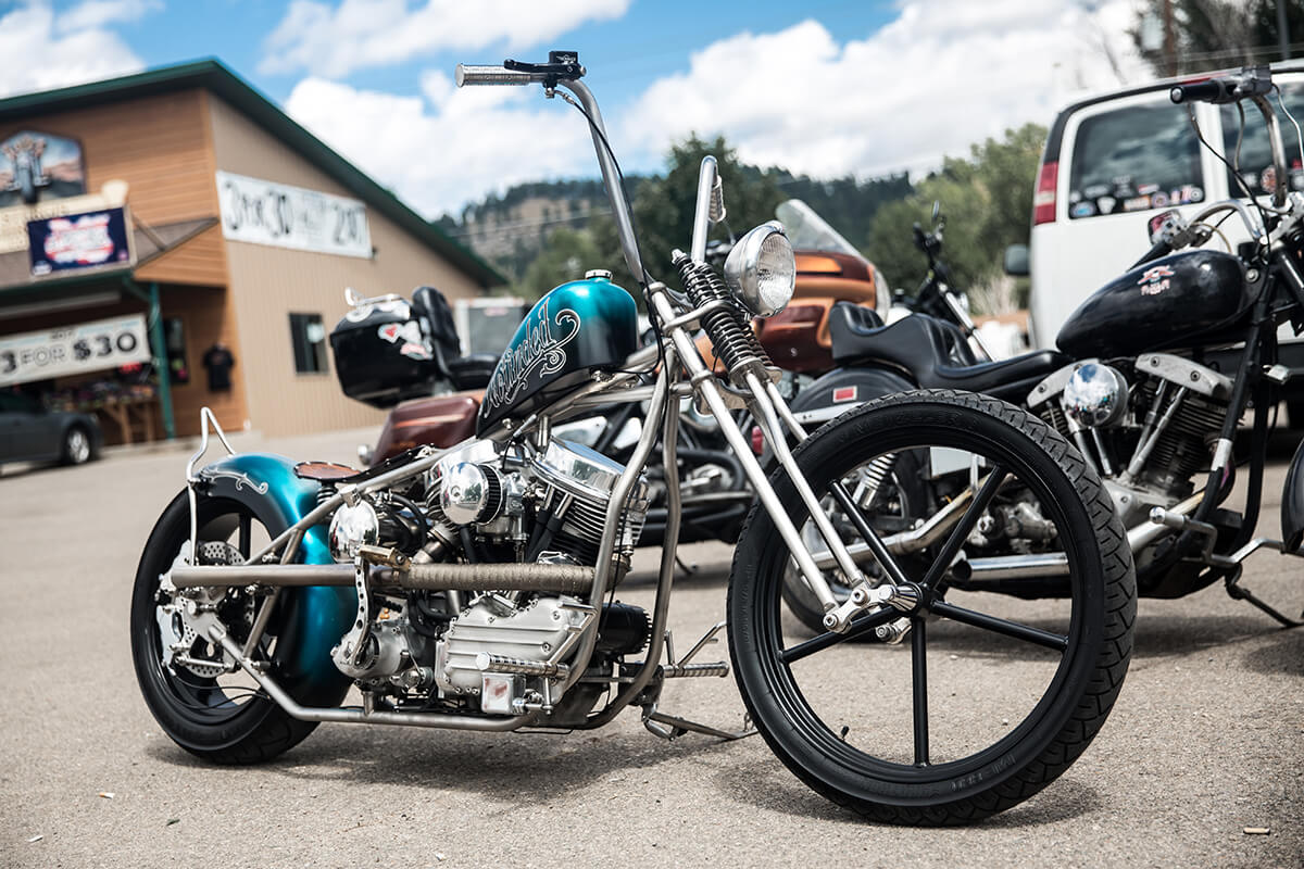 Will Ramsey's Titanium framed Panhead chopper. This thing is so light and strong. Will is a master craftsman and you can tell just looking at his bikes. - Lowbrow Customs - Sturgis 2017