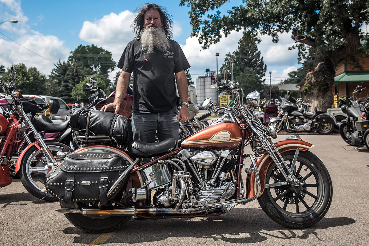 Mike rode his 41 Harley-Davidson Knucklehead to Sturgis from Colorado. Lowbrow Customs - Sturgis 2017