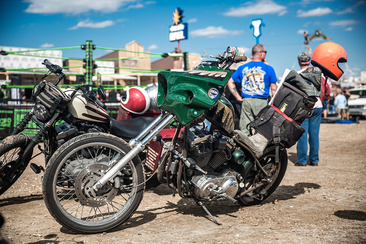 Timmy Marr always cracks me up with this crazy Sportster and bagger fairing combo. - Lowbrow Customs - Sturgis 2017